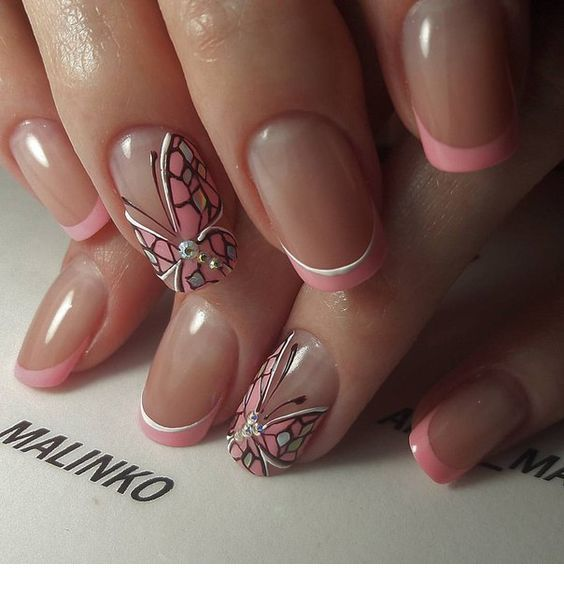 Sweet butterfly manicure with pink