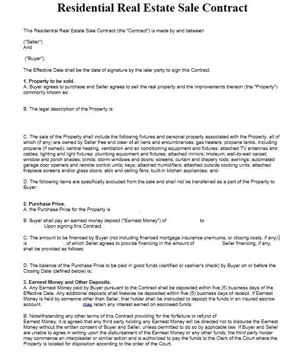 Mortgage Contract Template Sample Mortgage Agreement Template 9 - home sales contract