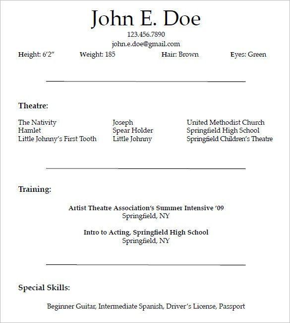 beginner resumes beginner resume sample entry level resume sample actor resume - Sample Beginner Resume