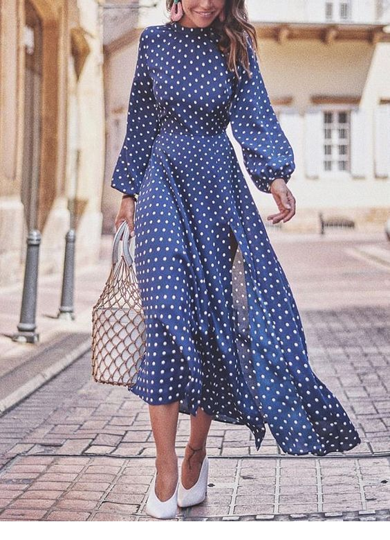 Retro style with polka dot dress