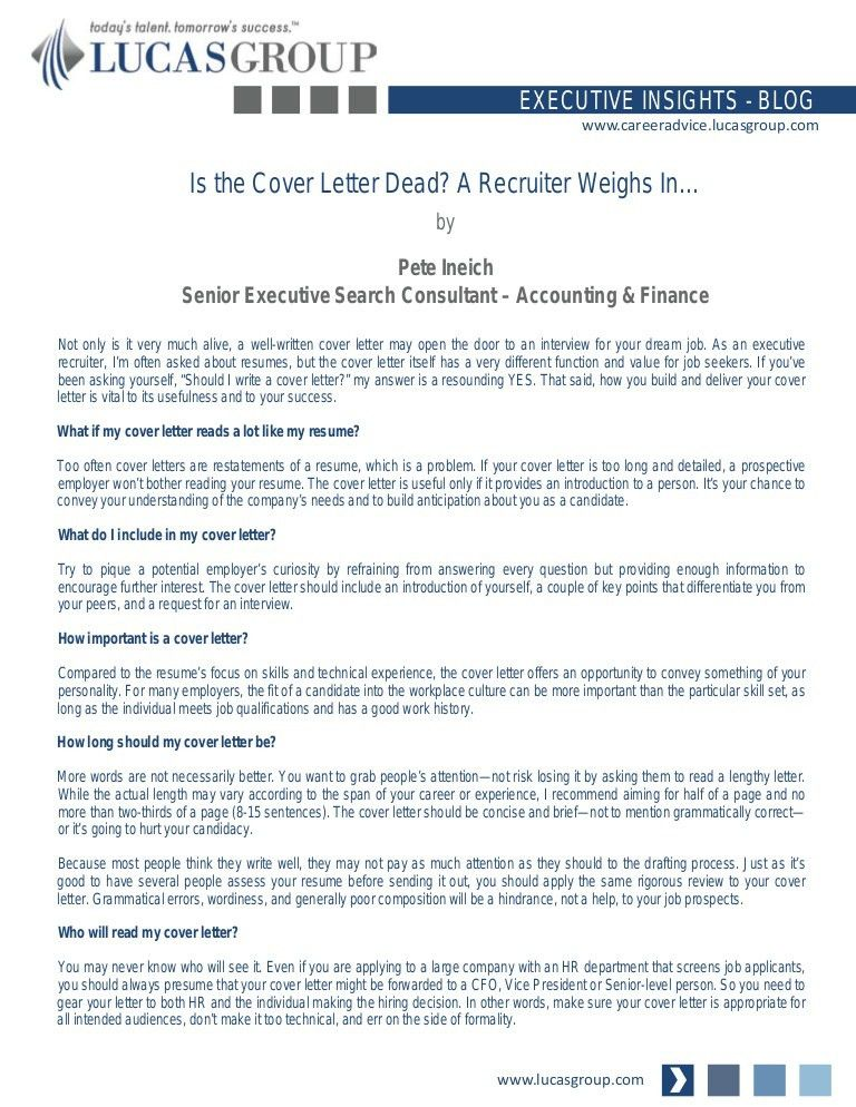 Is The Cover Letter Dead? A Recruiter Weighs Inu2026  Cover Letter To Recruiter