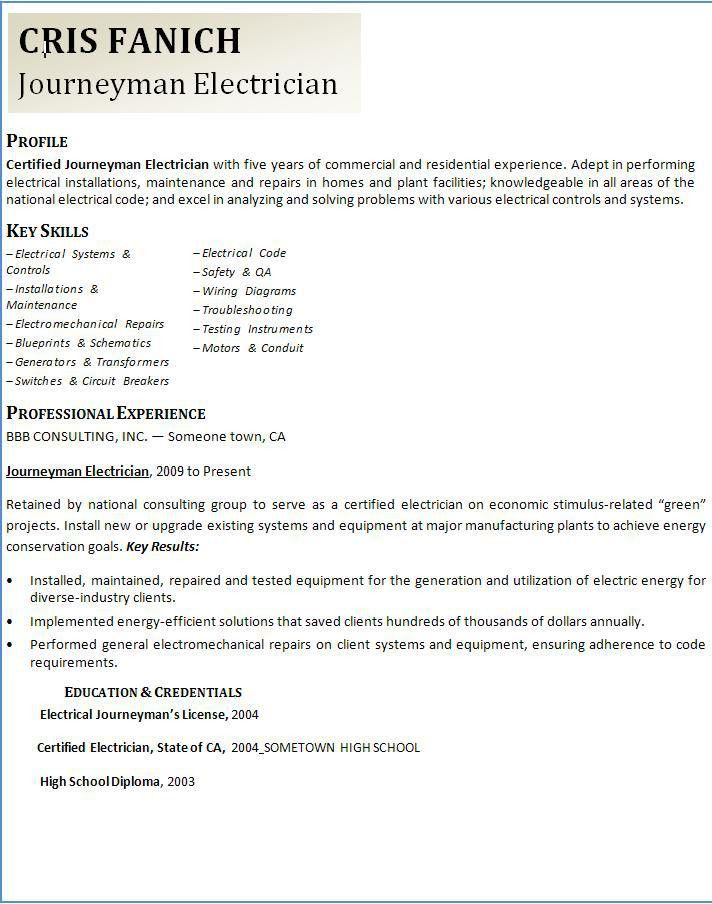 Electrician Resume Templates Unforgettable Journeymen - master electrician resume