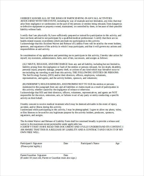 Free Liability Waiver Release Of Liability Create A Free - general release of liability form template
