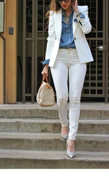 Nice white and blue work look