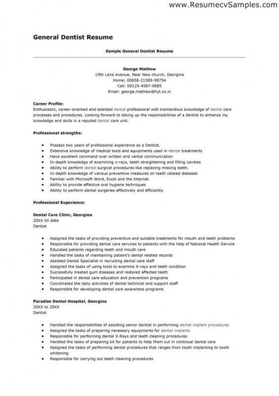 Dental Resume Format Medical Dental Resume - dental resume