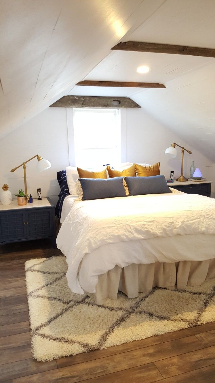 Attic bedroom. Navy, white, shiplap, gold, wood | Attic ...