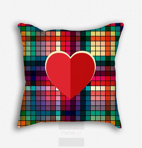 Decorative+Throw+Pillow.+Decorative+Colorful+Heart+Pattern+Pillow+Cover    •+18x18+inches  •+Pillow+cover+only  •+80%+polyester+/+20%+cotton+fleece  •+Double+sided+print  •+Concealed+zipper  •+Machine+washable