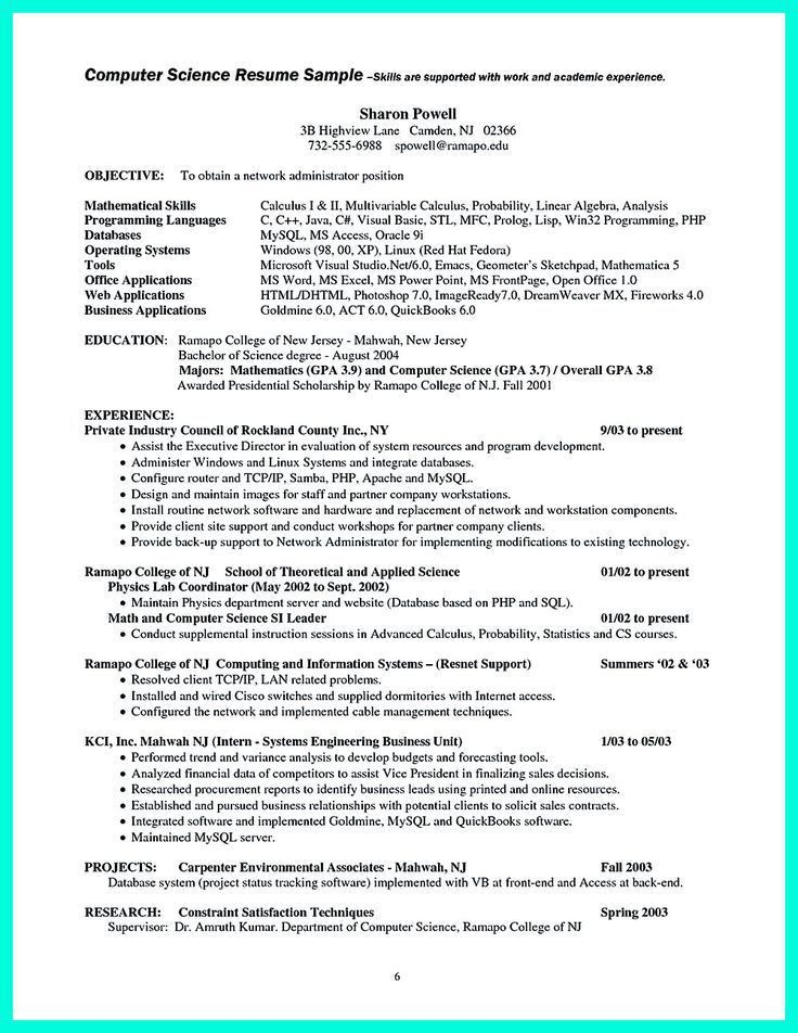 Resume For Science Majors. Bsc Puter Science Resumes Science Free