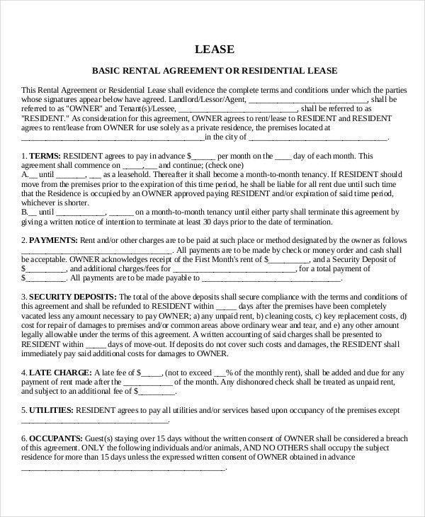 Rental Lease Template Free Lease Rental Agreement Forms Ez - apartment rental contract sample