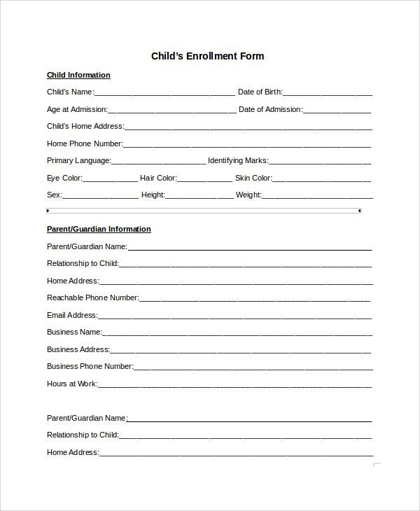 enrollment forms templates