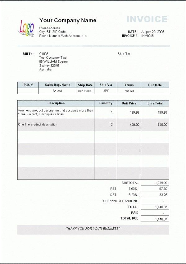 Copy Of A Blank Invoice Blank Invoice Template Printable, Free - copy of invoice template