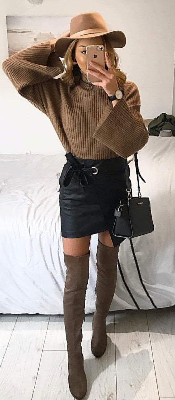 brown knitted sweater, black leather pencil skirt, and pair of brown leather thigh high boots #spring #outfits
