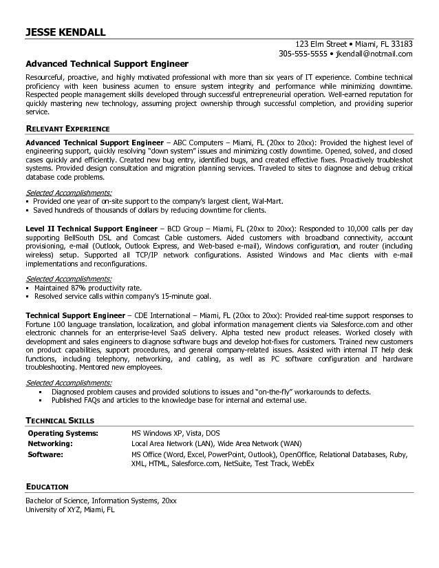 call center technical support resume for it help desk professional