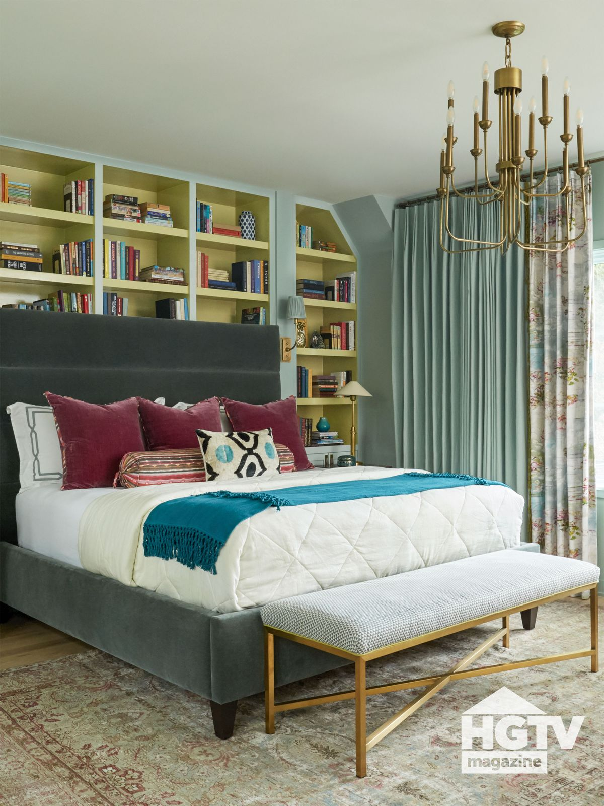 A green and blue master bedroom from HGTV Magazine