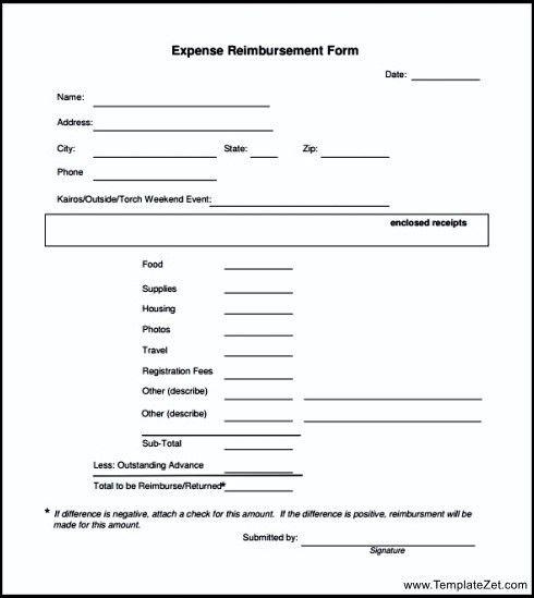 Reimbursement Form Template Free Expense Reimbursement Form For - expense reimbursement form