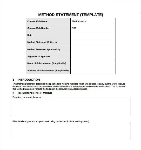 Health And Safety Method Statement Template Form 002 Safe Work - method of statement