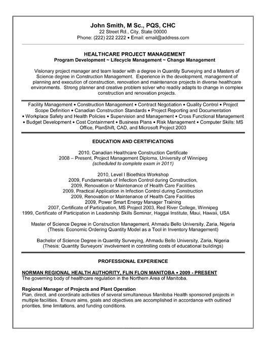 Health Resume Template Resume Format For Quality Manager Resume - healthcare resume