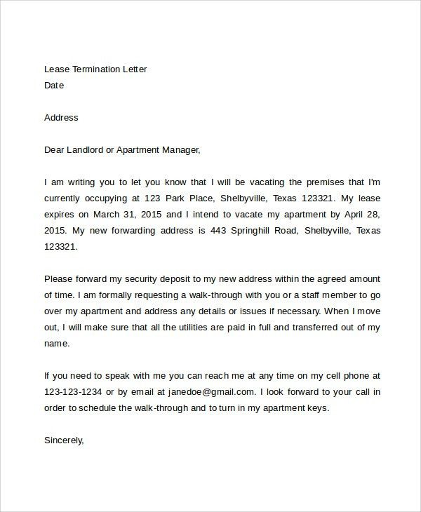 Early Lease Termination Letter Template Free Notice Of Lease - sample lease termination letter