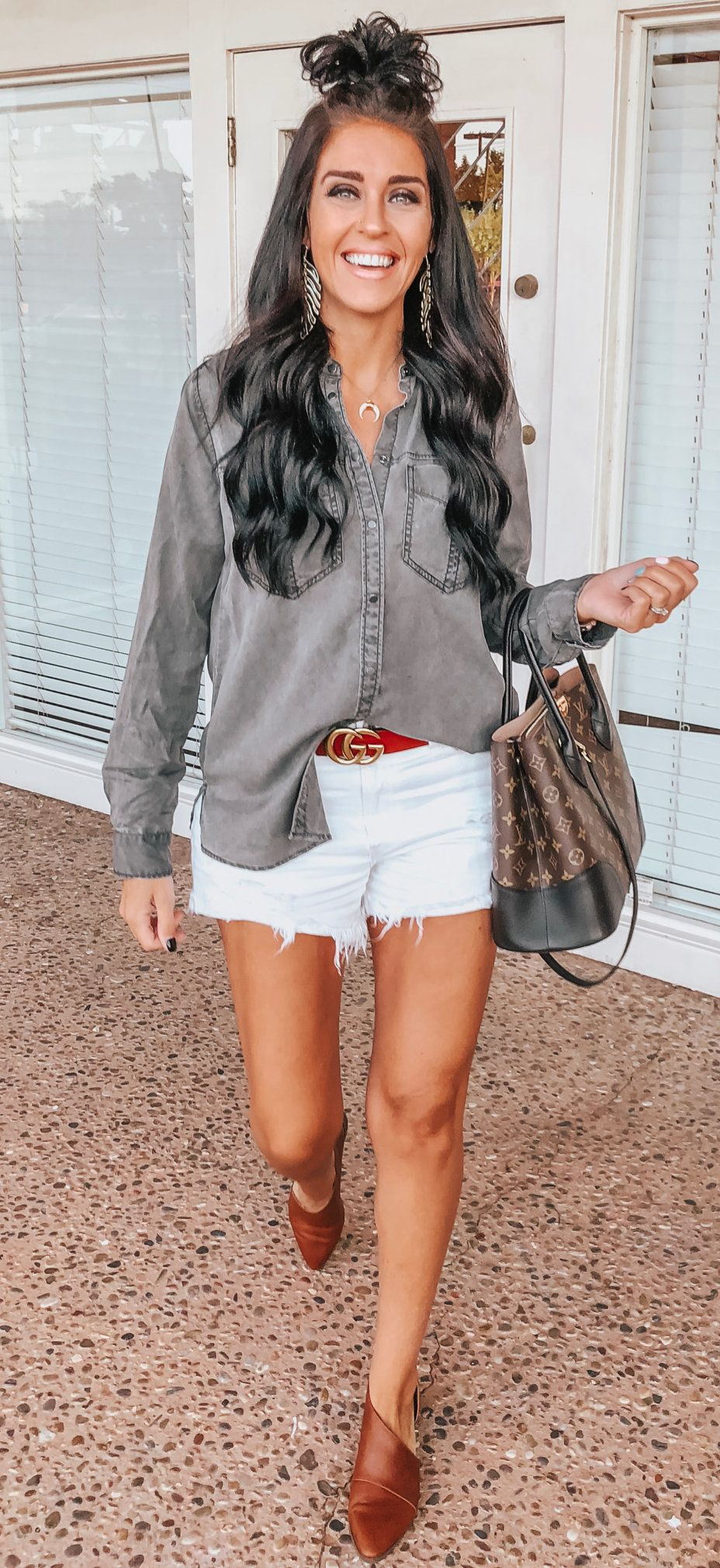 gray button-up shirt, blue denim shorts, brown leather shoes, and two-bag #spring #outfits
