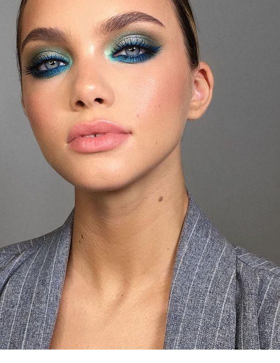 Superb blue makeup