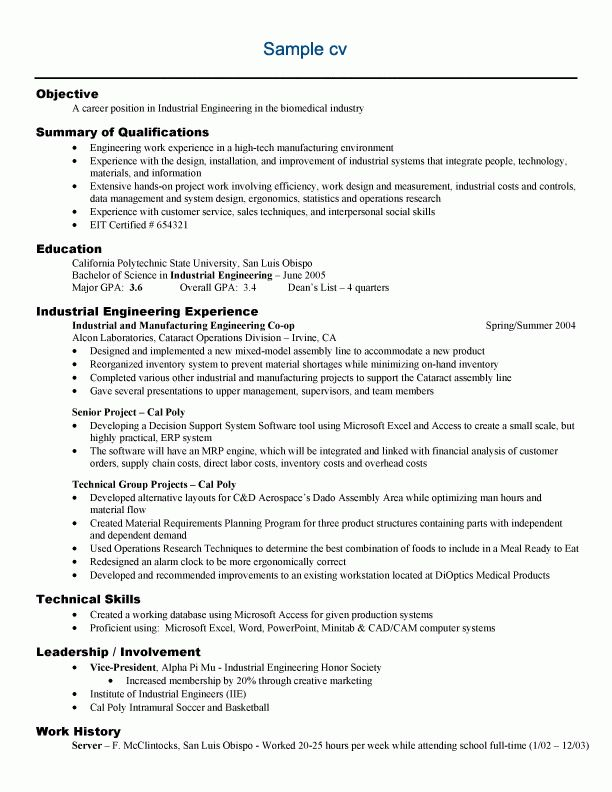 How To Write An Engineering Resume Example Industrial Engineering - biomedical engineer resume