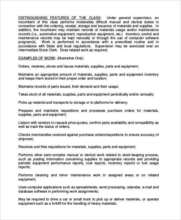 Nice Stock Clerk Job Description Stock Clerk Job Description Sample 8   Stock  Clerk Job Description
