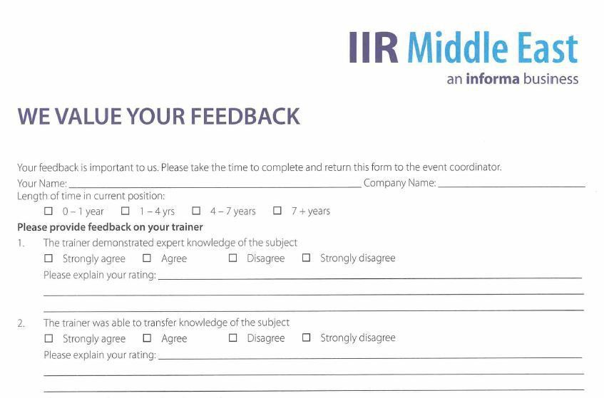 Sample Training Feedback Form 7 Training Feedback Form Samples - interview assessment forms