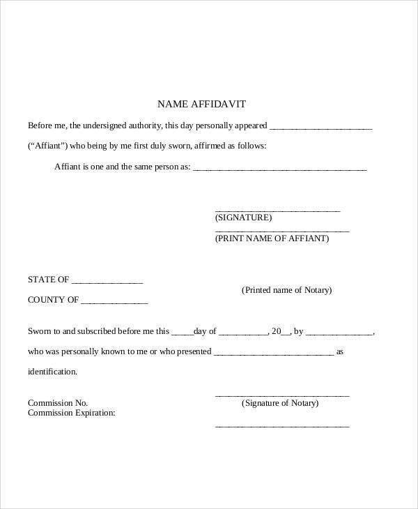 Free Affidavit Form Template Affidavit Form Template Free Word - affidavits template