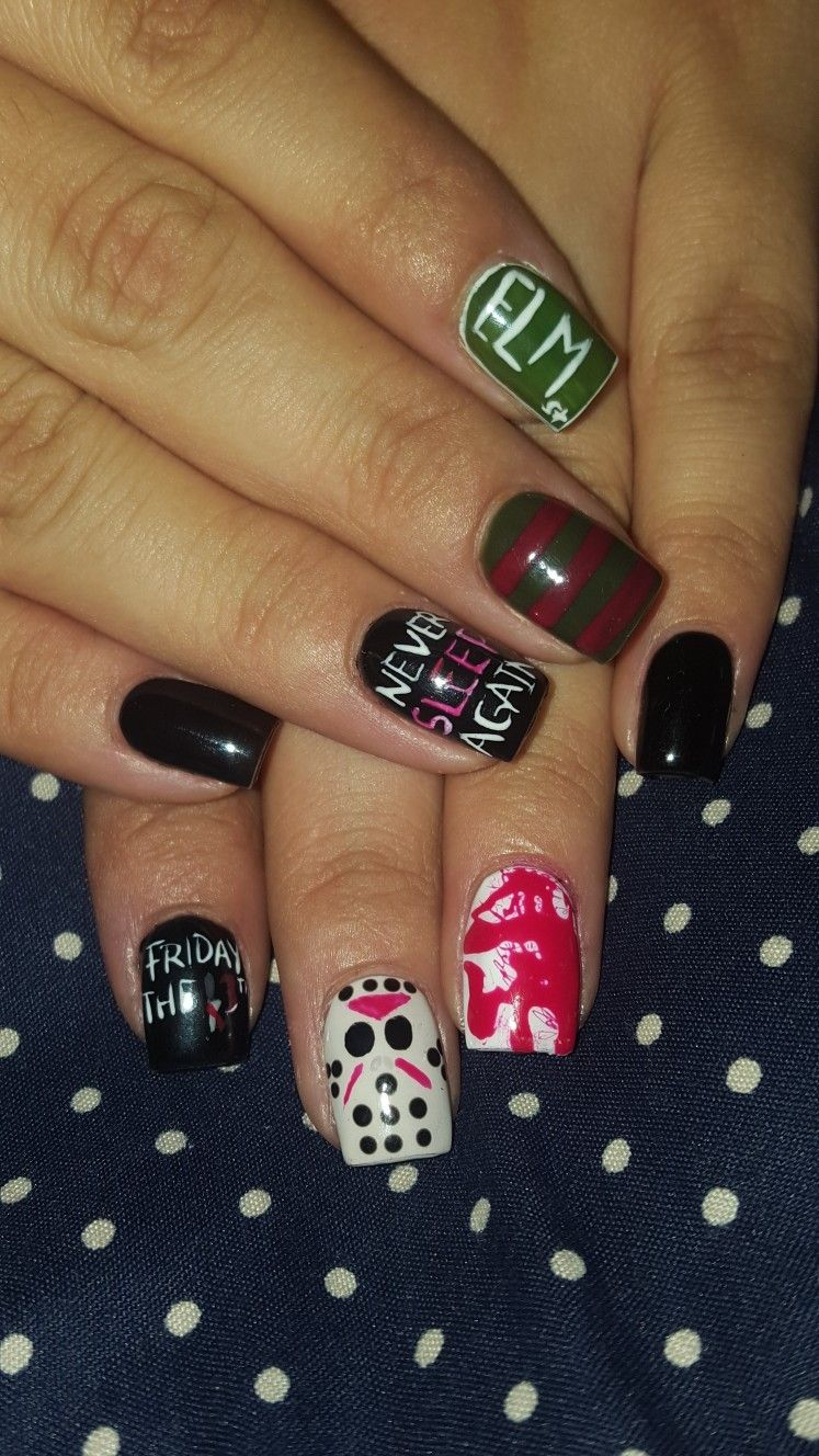 Freddy vs Jason Halloween nails | Horror nails, Nails ...