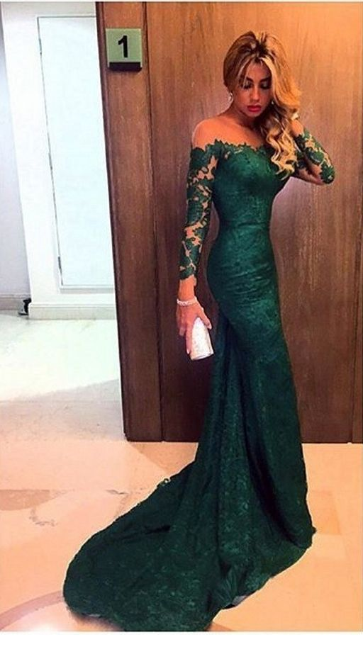 Sweet long lace green dress