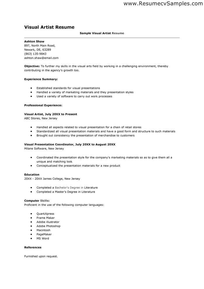 Gentil Art Resume Format Artist Resume Sample Writing Guide Resume