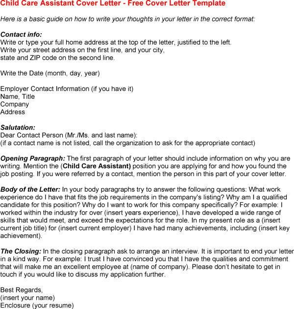 daycare assistant cover letter
