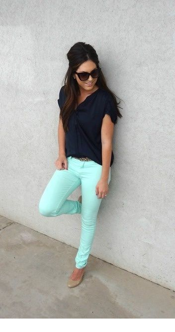 Black top with mint pants