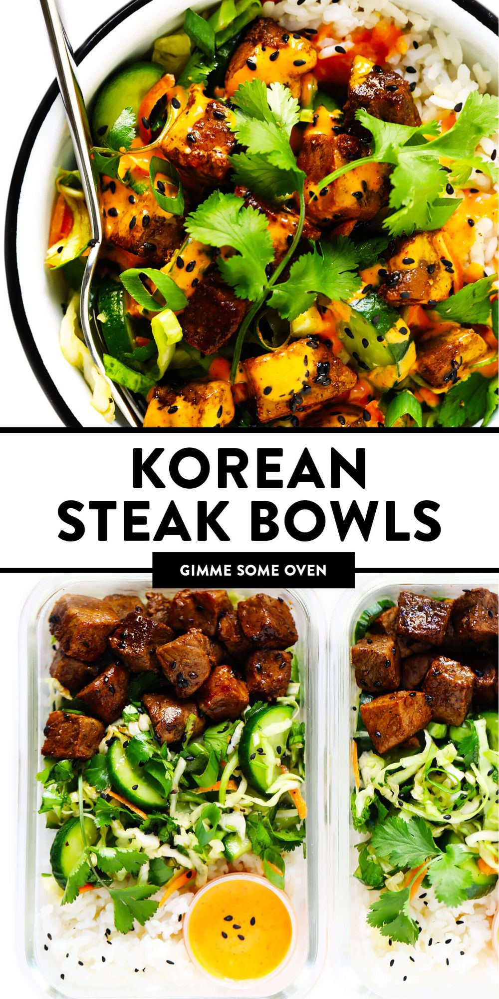 These Korean Steak Bowls are made with juicy seared steak bites (or chicken, pork, shrimp, tofu, tempeh -- you choose), a quick sesame cucumber slaw, your choice of rice or quinoa, and the BEST 2-ingredient spicy gochujang dressing. Perfect for weeknight dinners or easy meal prep, naturally gluten-free, and so delicious! | gimmesomeoven.com #korean #steak #beef #bowl #salad #slaw #rice #dinner #mealprep #glutenfree #healthy