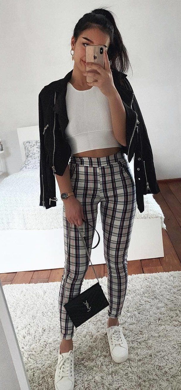 black zip-up jacket, white crop top, and black and white plaid fitted pants #spring #outfits