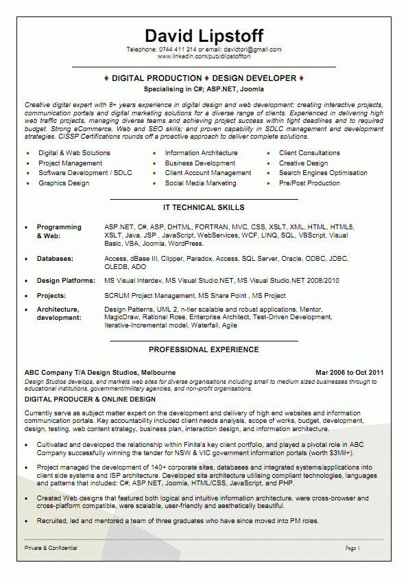 Sample Australian Resume Format Software Engineer Resume Example - software developer resume template