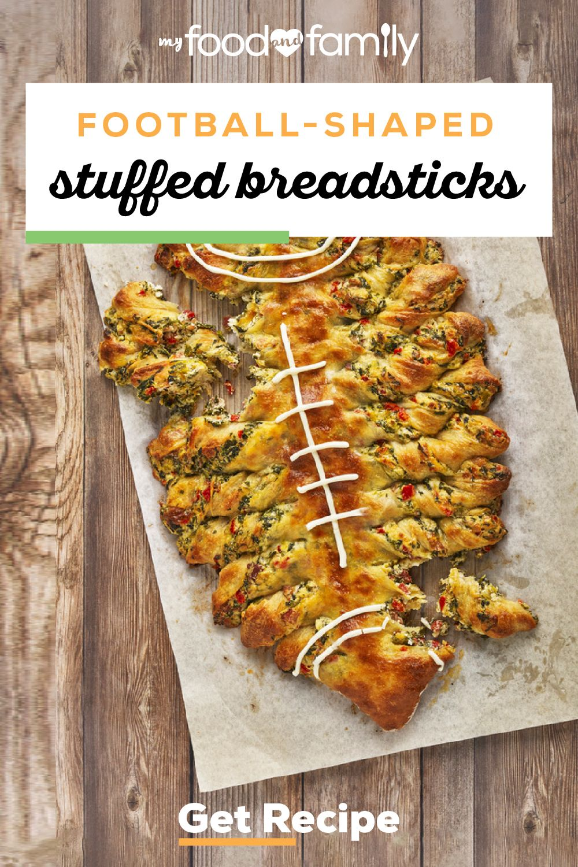 Football-Shaped Stuffed Breadsticks