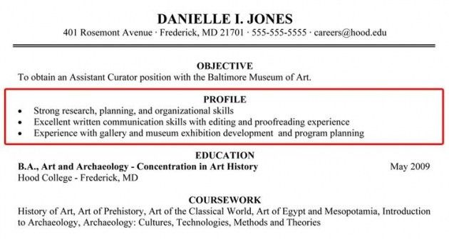 Profile On Resume Example How To Write A Professional Profile