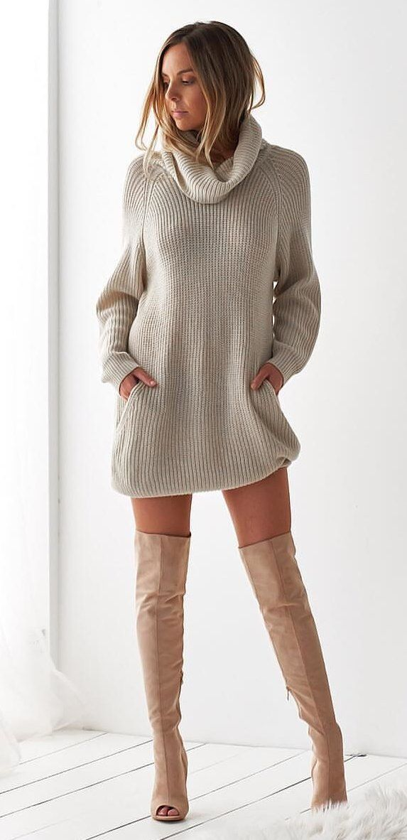 gray turtleneck sweater #spring #outfits