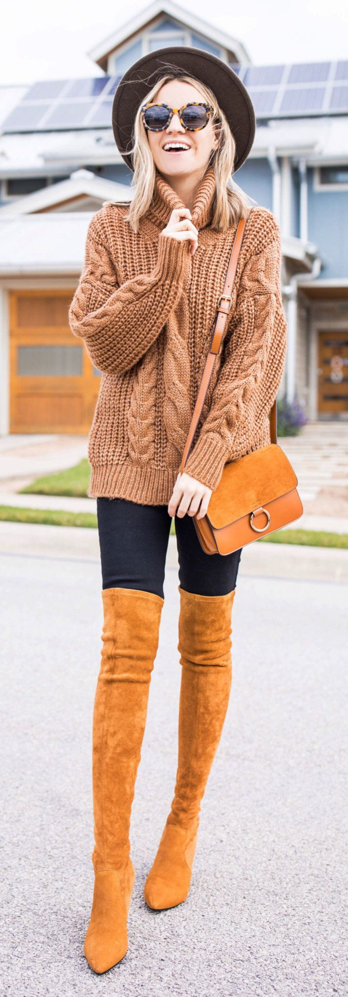 brown knitted turtleneck sweater