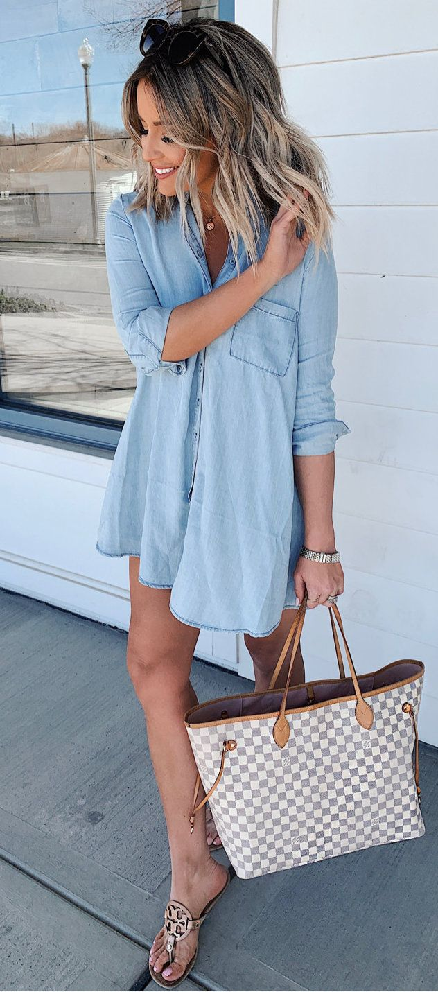 blue dress shirt #spring #outfits