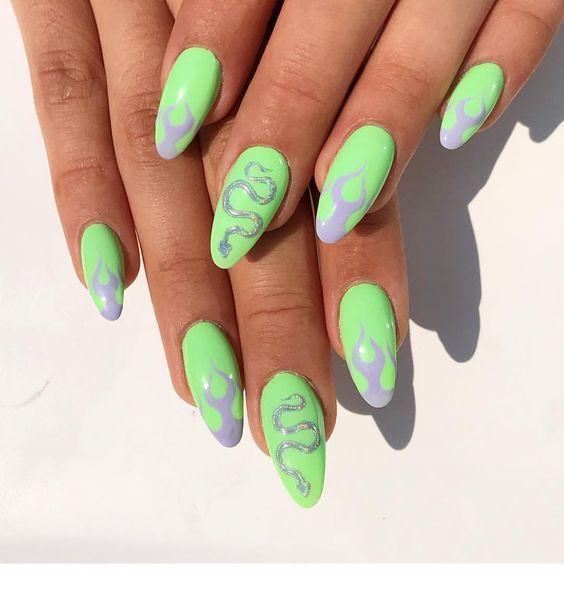 Grey and neon green – nail art