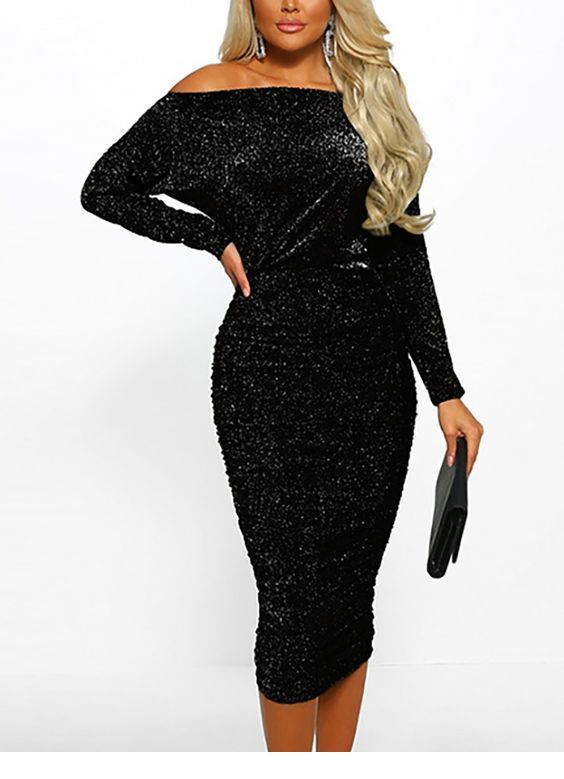 Sweet black glitter dress design