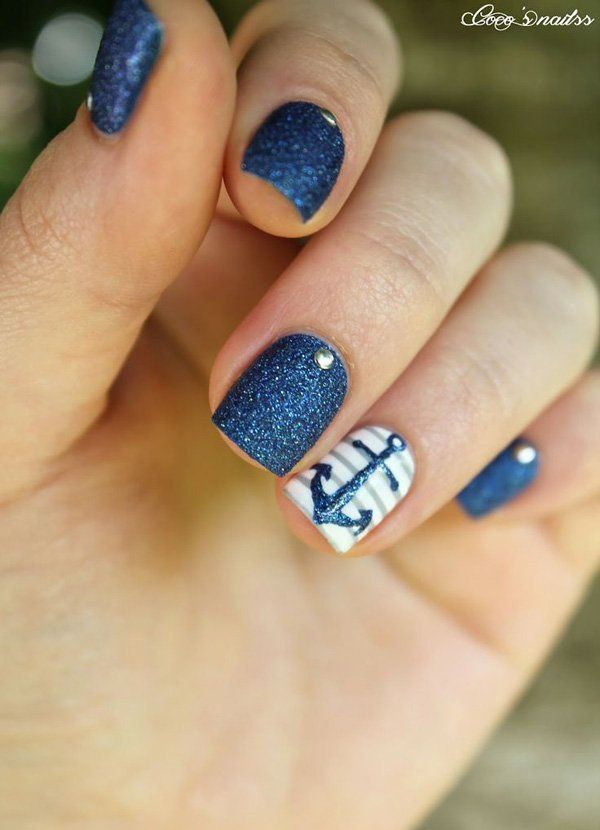 anchor nail art – 60 Cute Anchor Nail Designs