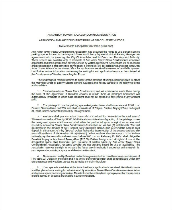 Sample Parking Lease Agreement sample rental leases lease - parking agreement template
