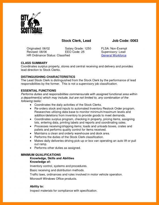 Store Clerk Job Description Resume Entry Level Cashier Resume - stock clerk job description