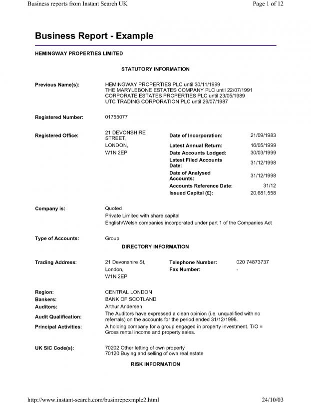 example of formal business report