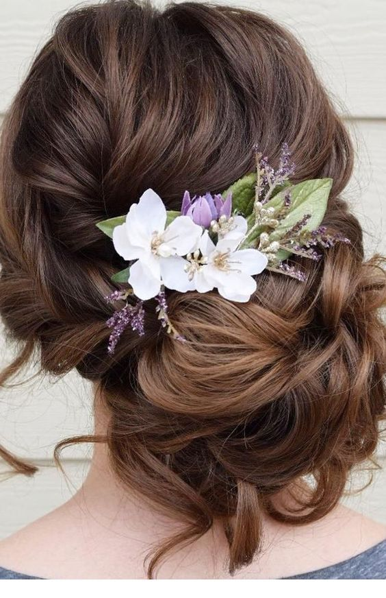 Low bun with summer flowers