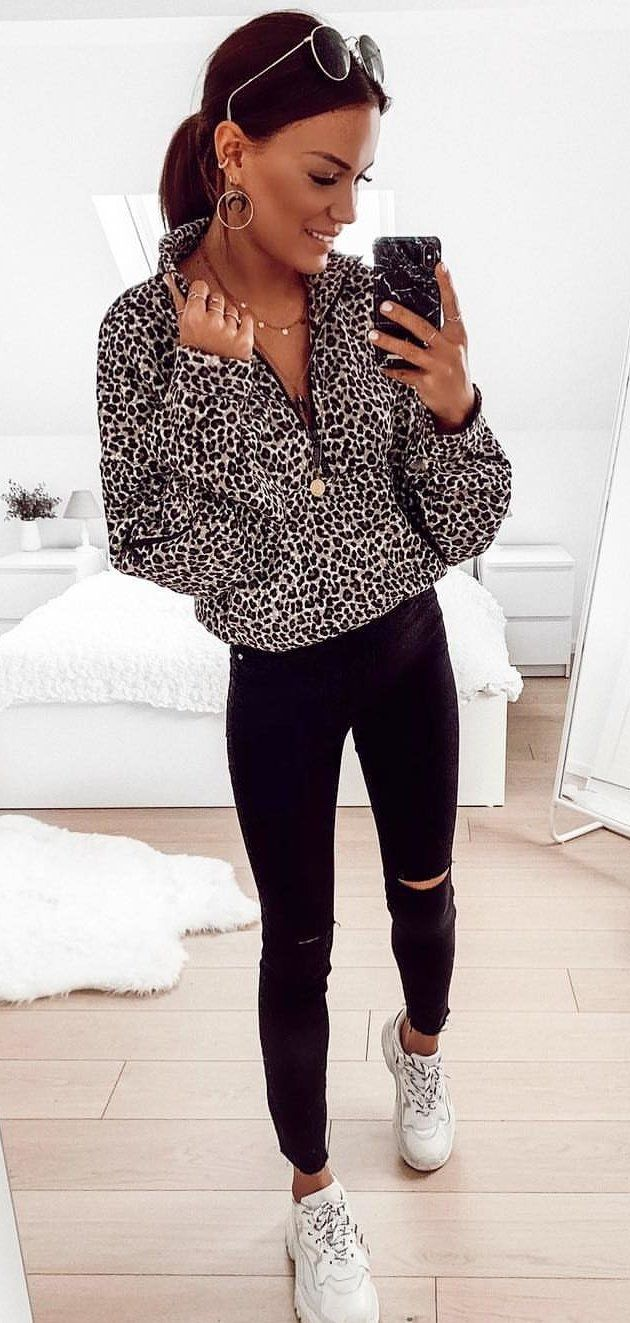 white and black long-sleeved shirt #spring #outfits