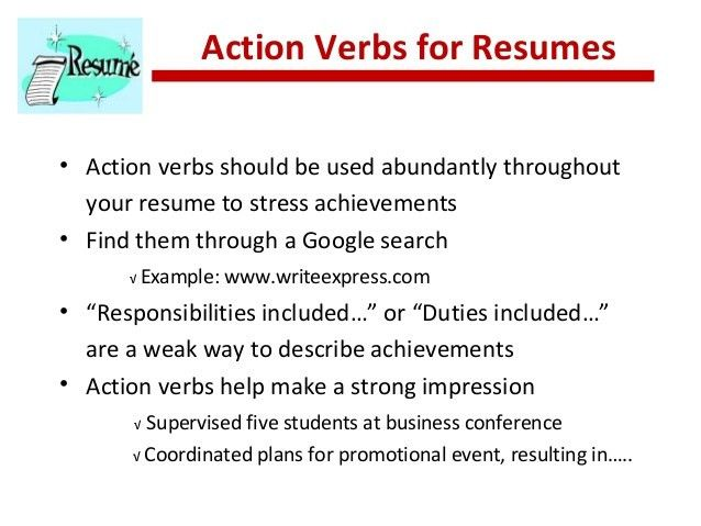 examples of action verbs for resumes examples of action verbs for